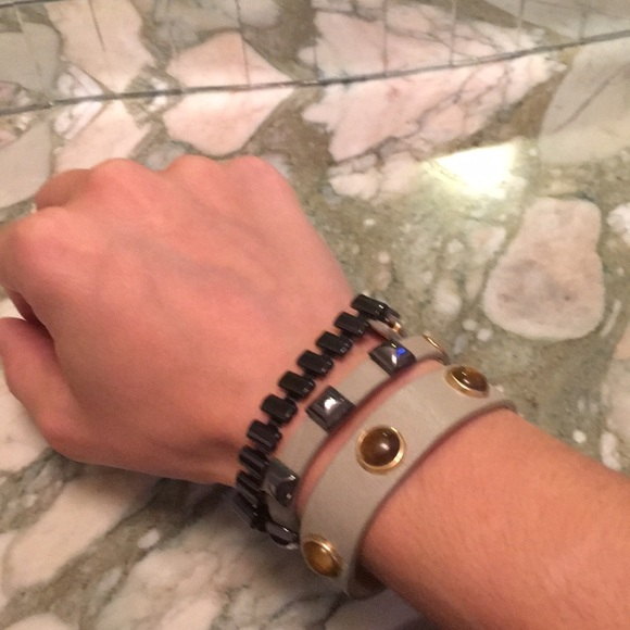 Juicy Couture Jewelry - Juicy Couture green leather bracelet set